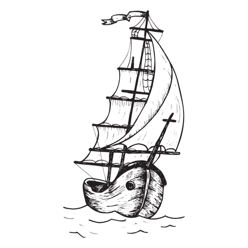 Barco bergantín dibujado a mano