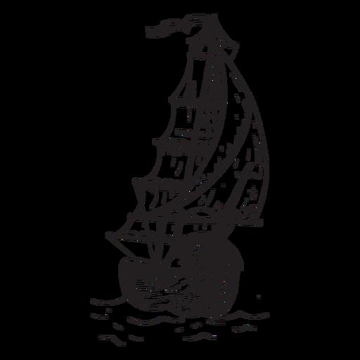Hand drawn brig ship