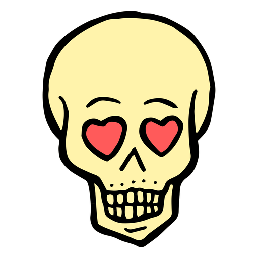Heart eyes skull vintage tattoo Transparent PNG