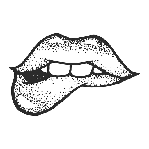 Lábios, mordida, vindima, tatuagem Transparent PNG