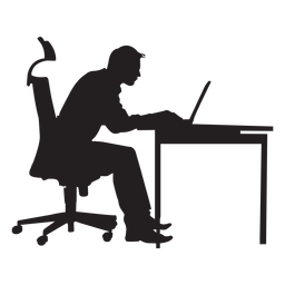 Hombre sentado en la mesa de ordenador silueta