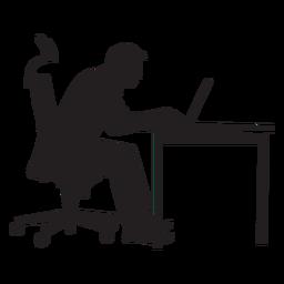 Homem, sentando, em, computador, mesa, silueta