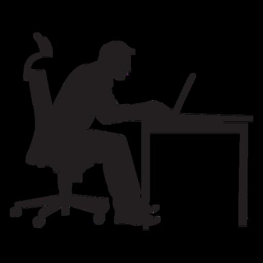 Hombre sentado en la mesa de ordenador silueta Transparent PNG