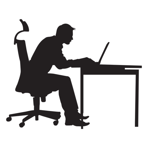 Man sitting at computer desk silhouette Transparent PNG