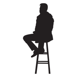 Man sitting on bar stool silhouette