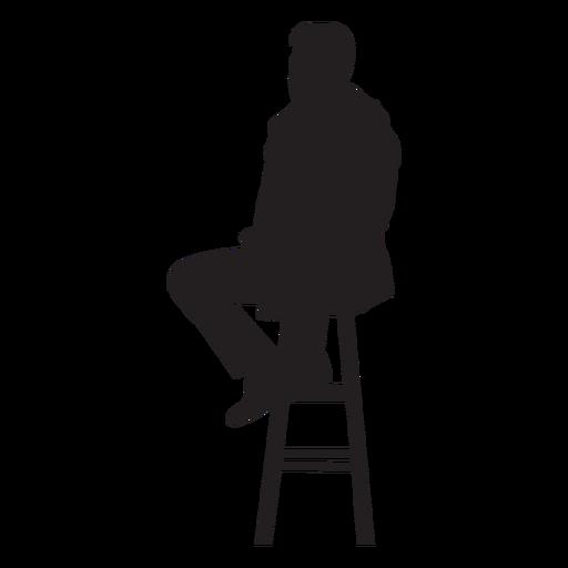 Hombre sentado en la barra de la silueta del taburete Transparent PNG