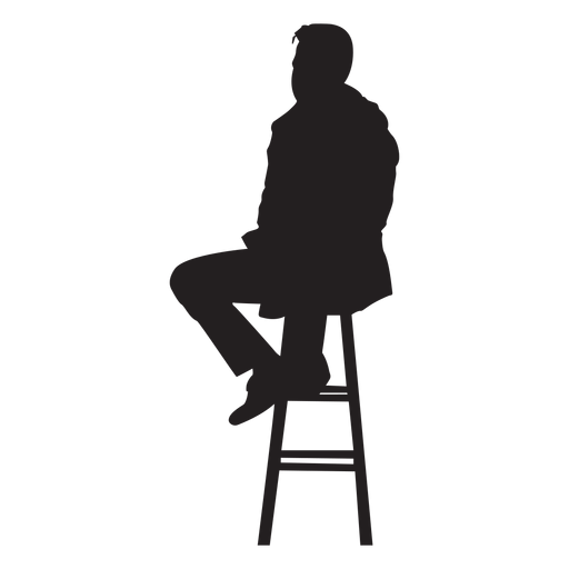 Man sitting on bar stool silhouette Transparent PNG