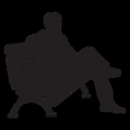 Hombre que sienta, en, banco, silueta