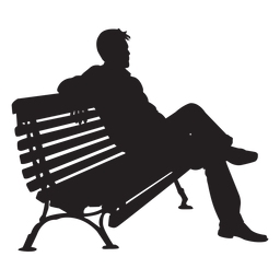 Man sitting on bench silhouette