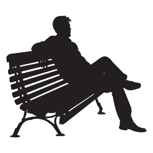 Man sitting on bench silhouette Transparent PNG
