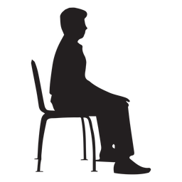 Hombre sentado en la silueta de la silla