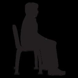 Homem, sentando, ligado, cadeira, silueta