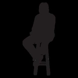 Homem, sentando, ligado, cadeira alta, silueta