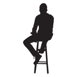 Mann, der auf Hochstuhlschattenbild sitzt