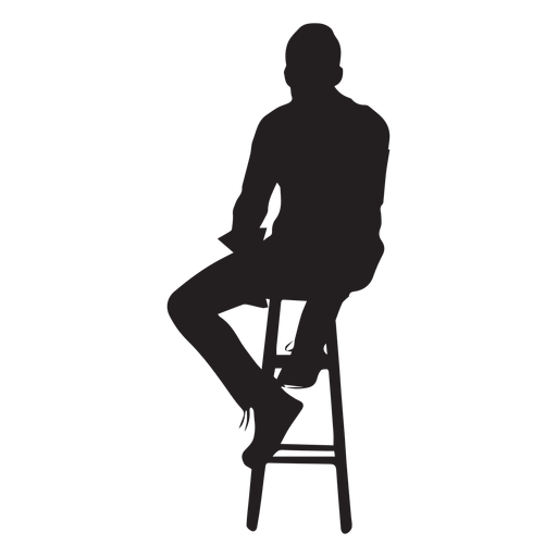 Man sitting on high chair silhouette Transparent PNG