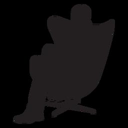 Homem, sentando, ligado, modernos, cadeira, silueta