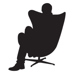 Man sitting on modern chair silhouette