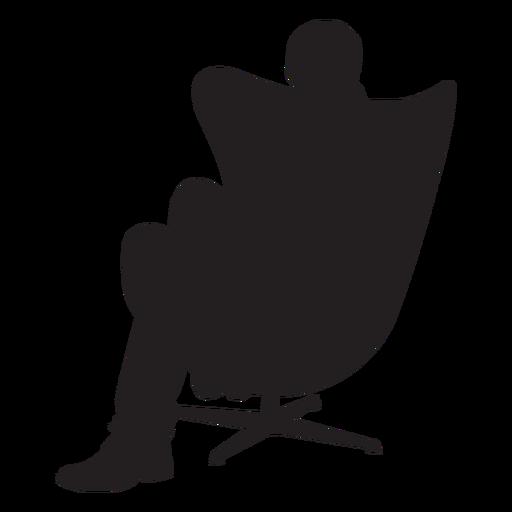 Homem, sentando, ligado, modernos, cadeira, silueta Transparent PNG