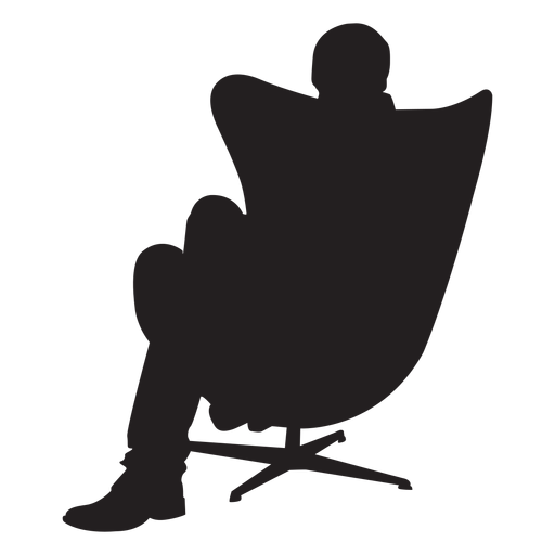 Man sitting on modern chair silhouette Transparent PNG
