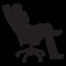 Homem, sentando, ligado, cadeira escritório, silueta