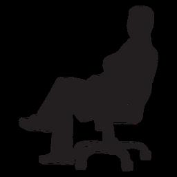 Homem, sentando, ligado, cadeira giratória, silueta