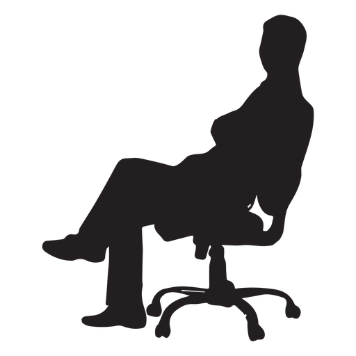 Hombre sentado en silueta de silla giratoria Transparent PNG