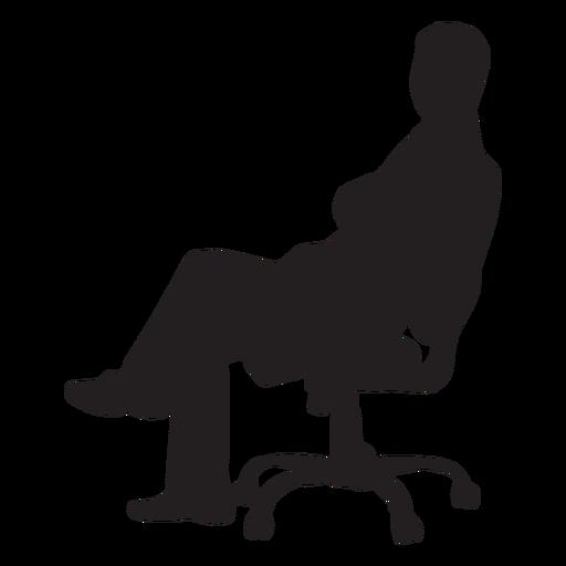 Homem, sentando, ligado, cadeira giratória, silueta Transparent PNG