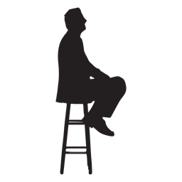 Hombre sentado en la silueta de la silla alta