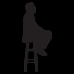 Homem, sentando, ligado, alto, cadeira, silueta