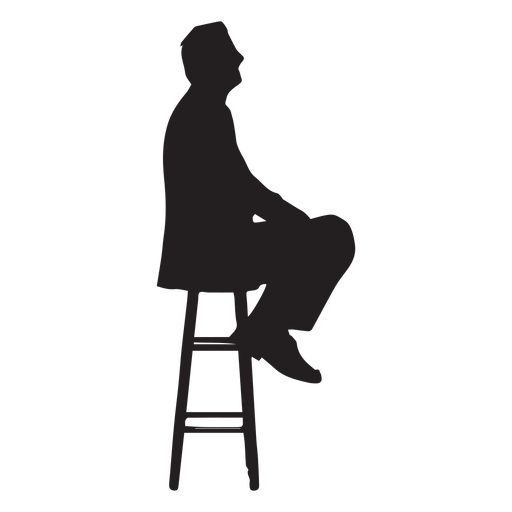Man sitting on tall chair silhouette Transparent PNG