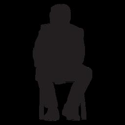 Homem, sentando, silueta pessoas, sentando