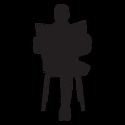 Hombre sentado con silueta de periódico