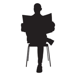 Man sitting with newspaper silhouette