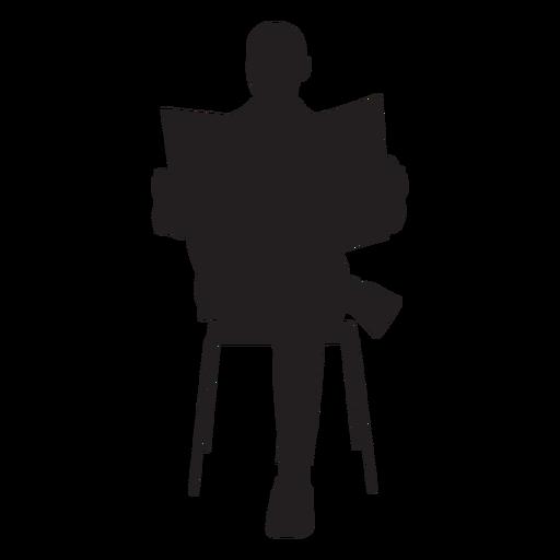Hombre sentado con silueta de periódico Transparent PNG