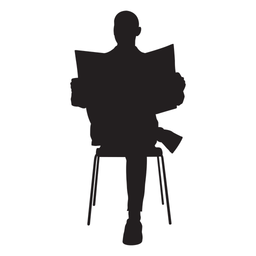Man sitting with newspaper silhouette Transparent PNG