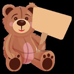 Old teddy holding board