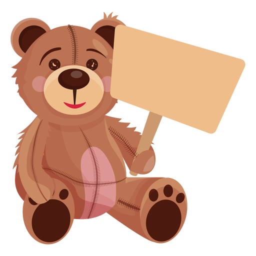 Old teddy holding board Transparent PNG