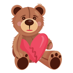 Old teddy holding heart