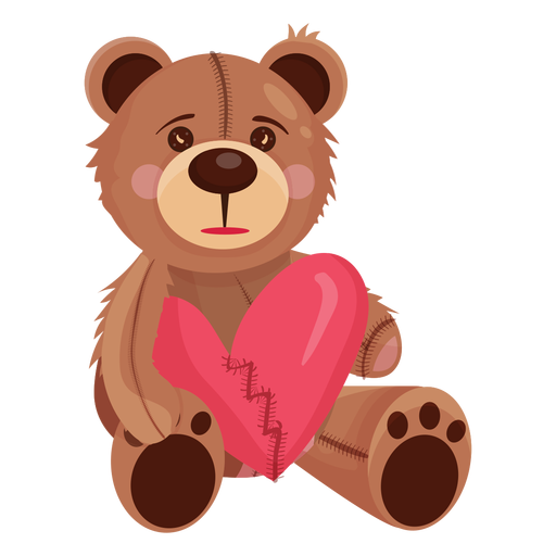 Old teddy holding heart Transparent PNG