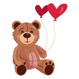 Old teddy holding heart balloons