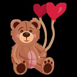 Velho teddy segurando balões de coração