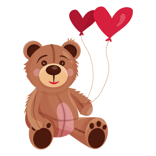 Old teddy holding heart balloons Transparent PNG