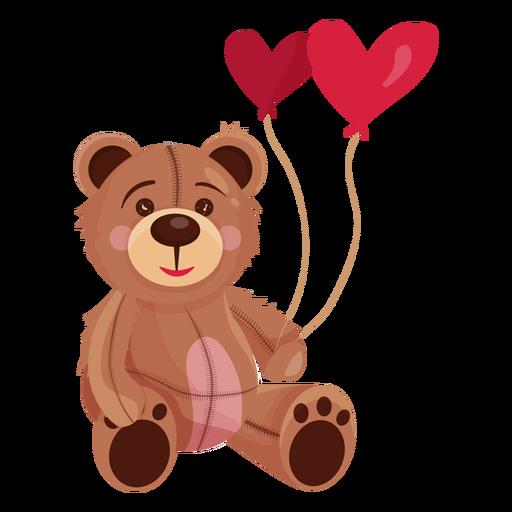 Viejo peluche con globos de corazon Transparent PNG
