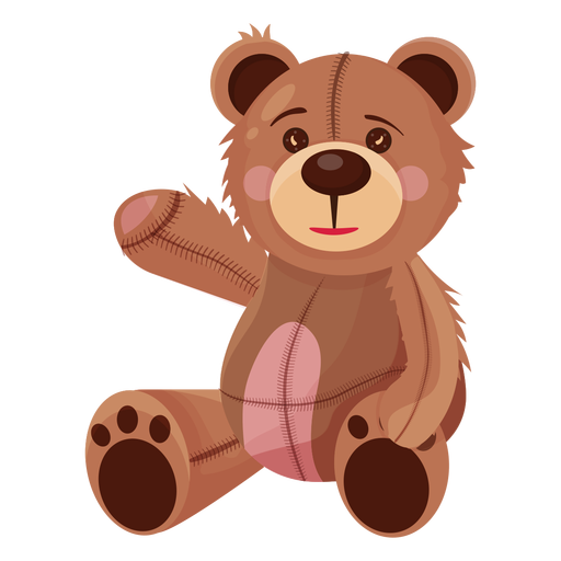 Old teddy waving illustration Transparent PNG