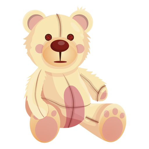 Old white teddy illustration Transparent PNG