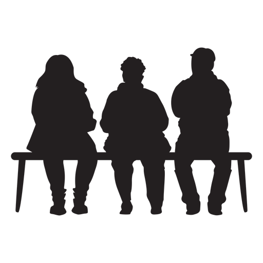 People sitting on bench silhouette