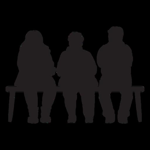 Personas sentadas en banco silueta Transparent PNG