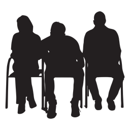 People sitting on chair silhouette