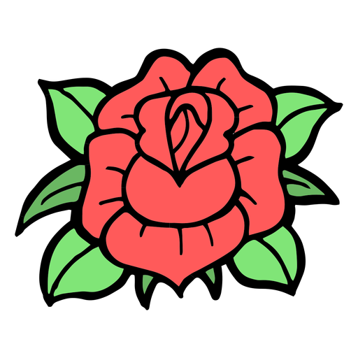Rose head colored vintage tattoo Transparent PNG