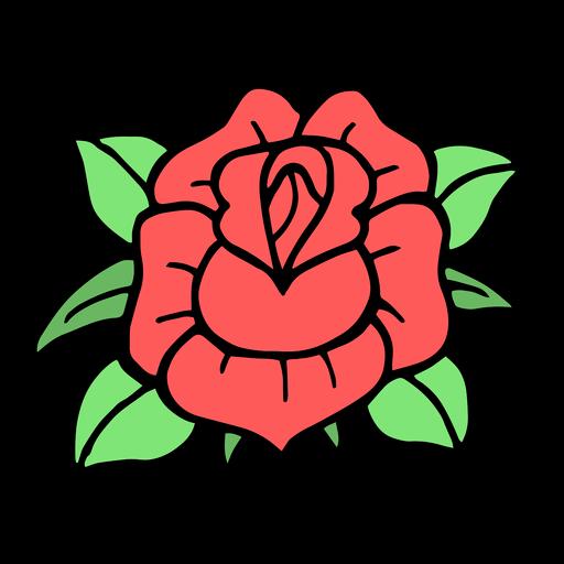 Rose head colored vintage tattoo